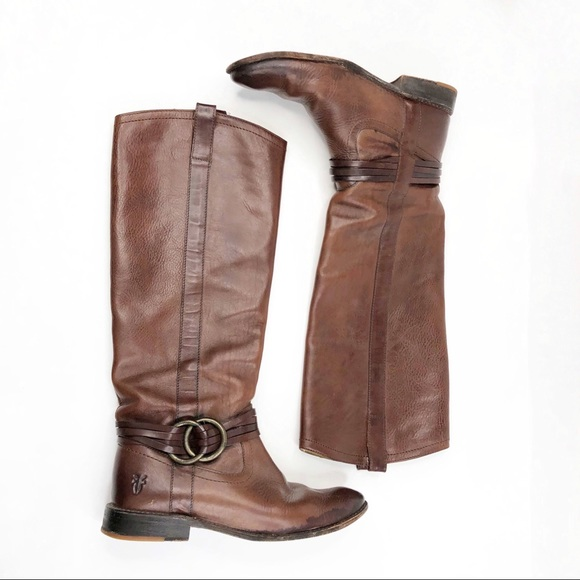 Frye Brown Shirley Leather Tall Boots